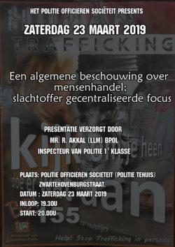 """Presentatie: """"Een algemene beschouwing over mensenhandel; slachtoffer gecentraliseerde focus"""